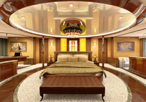 "Onyx Orange in de master suite van charter yacht ""Legend"""